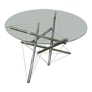 1970s Italian Modern Chromed Steel and Glass Center/Coffee Table For Sale