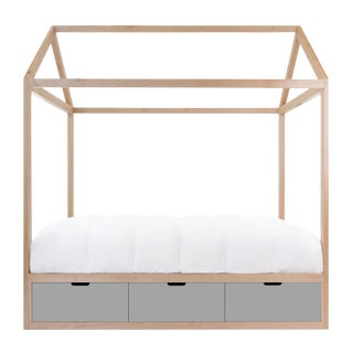 Domo Zen Full Canopy Bed in Maple With Gray Finish Drawers For Sale