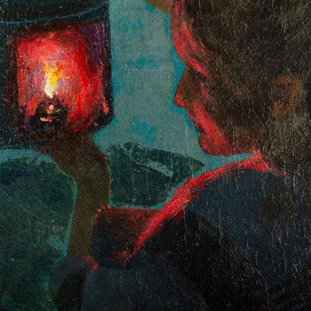 "Early 20th Century ""Girl with Lantern"" Figurative Oil Painting by Otto Toaspern For Sale In Philadelphia - Image 6 of 11"