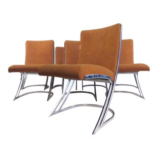 Set of Eight Mid-Century Chrome Cantilever Dining Chairs For Sale