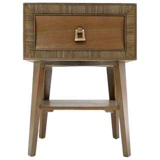 Paul Frankl for Brown Saltman Combed and Cerused Oak End Table or Nightstand For Sale