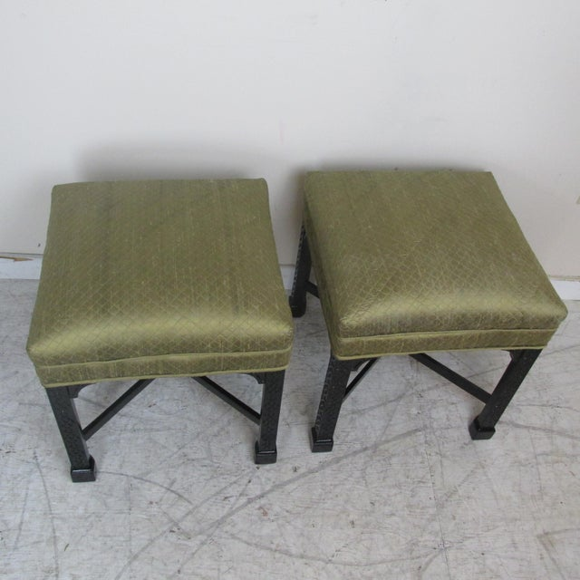Asian Vintage Chinese Chippendale Style Stools - a Pair For Sale - Image 3 of 9