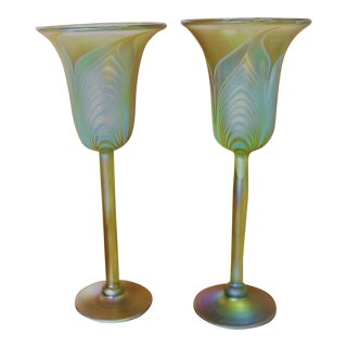 1970s Correia Art Glass Goblets - a Pair For Sale