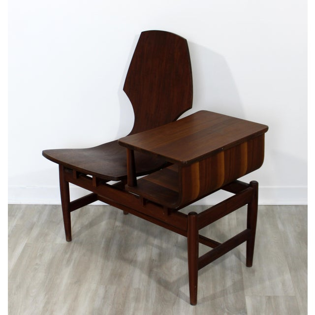 Mid-Century Modern Mid Century Modern Plycraft Bentwood Telephone Gossip Table & Side Chair For Sale - Image 3 of 11