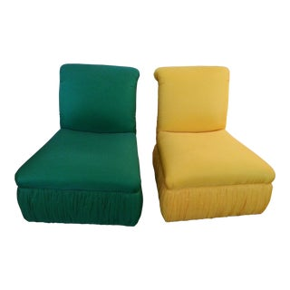 Silk Slipper Accent Chairs - A Pair For Sale