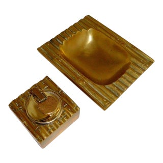 Maison Bagues French Art Deco Dore Bronze Bamboo Ashtray & Table Lighter Set- C1920's For Sale