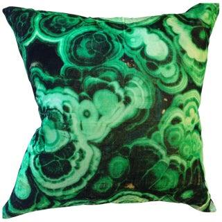 Malachite Printed Velvet Pillow For Sale