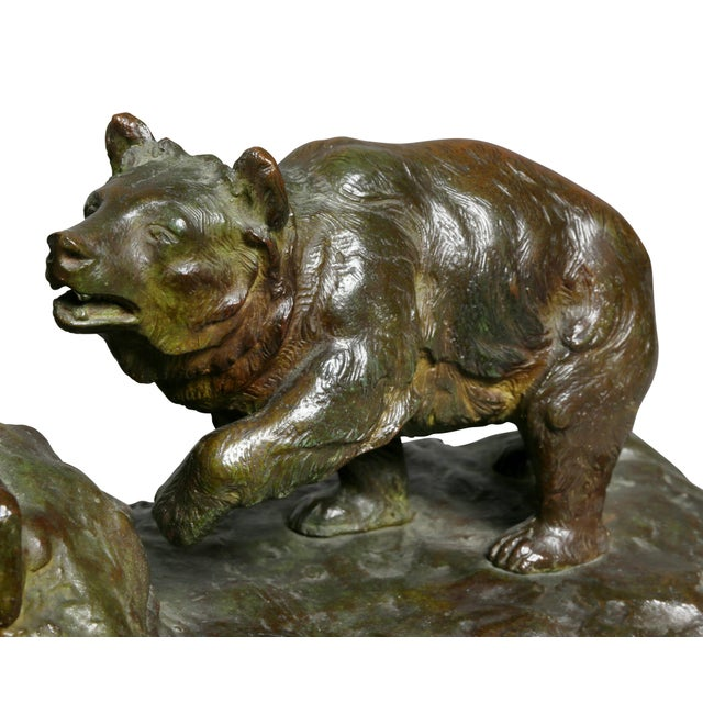 1900 - 1909 Bronze Animalier Bookends Retailed by Theodore B Starr Inc. - a Pair For Sale - Image 5 of 12