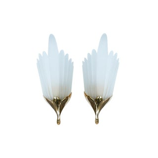 F. Fabbian Italian Brass & Glass Sconces, a Pair For Sale