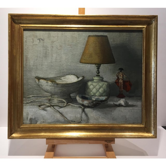 A lovely still life by Paula Rubino. This painting is beautifully framed in 22 karat gold leaf. Frame size is 24 x 20 in....