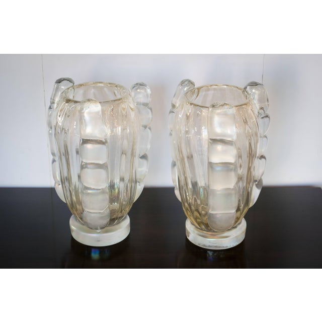 Sergio Costantini Ribbed Murano Vases by Sergio Costantini, Pair For Sale - Image 4 of 9