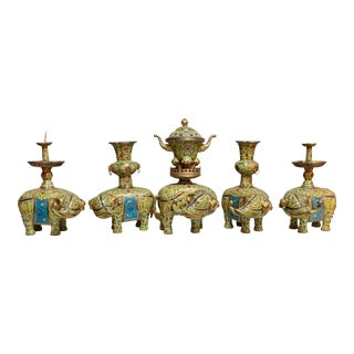 Elephant Chinese Yellow and Blue Cloisonne and Gilt Bronze Alter - Set of 5 For Sale