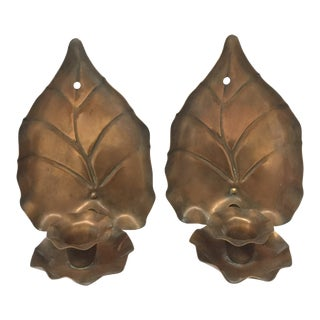 Antique Solid Copper Candle Wall Sconces - a Pair For Sale