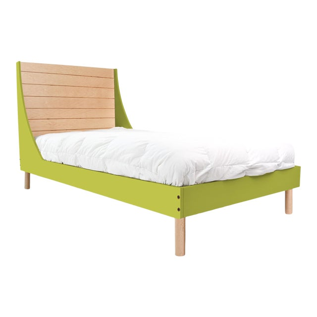 Nico & Yeye Minimo Twin Panel Bedframe in Maple and Green For Sale
