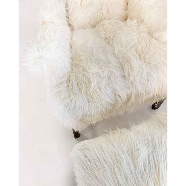 Feather Large Wingback Chair and Ottoman in Angora Goatskin For Sale - Image 7 of 9