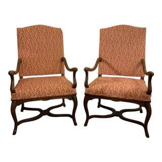 Louis XIV Style Arms Chairs a Pair For Sale