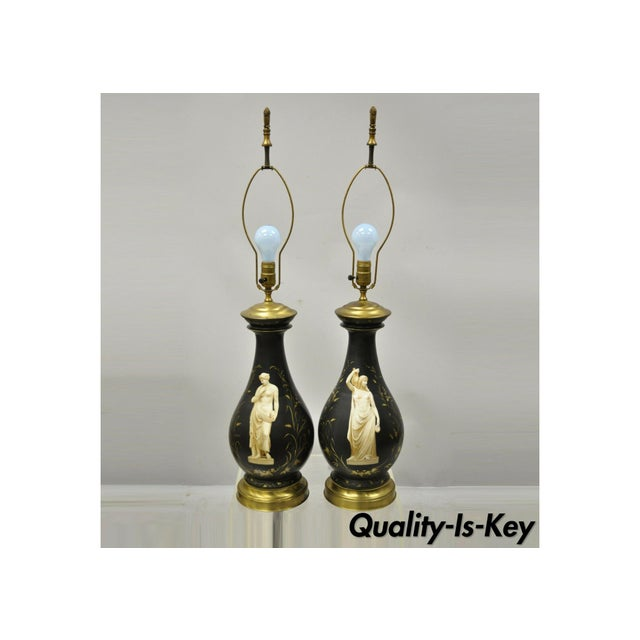 Antique French Neoclassical Black Porcelain Classical Bulbous Table Lamps - Pair For Sale - Image 13 of 13