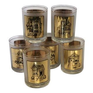 Gumps San Francisco Rocks Glasses Barware - Set of 6 For Sale