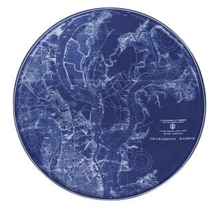 Nautical Chart of Charleston Harbor Platter/ Large Plate For Sale