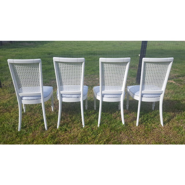Set of 4- White Palm Beach Regency Faux Bamboo Caned Dining Chairs - Image 8 of 13