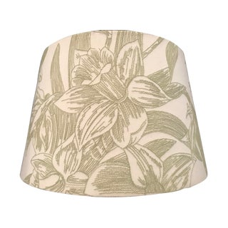"Embroidered Dark Sage Green on Linen Floral ""Lilly Motif"" Lampshade For Sale"