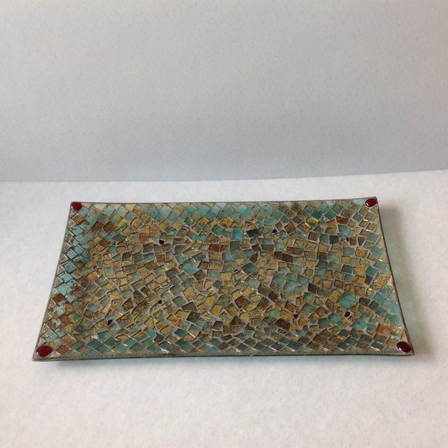 Gold Foil Glass Mosaic Tray - Image 9 of 11