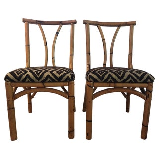 Pair of Antique South Seas Bamboo Chairs With Polynesian Hawaiian Fabric For Sale