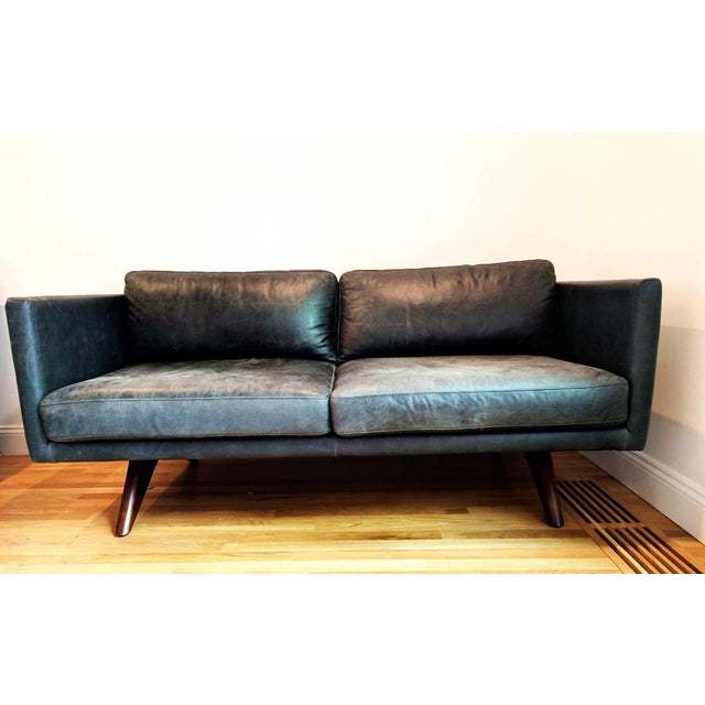 West Elm Modern Brooklyn Leather Oak Sofa Chairish