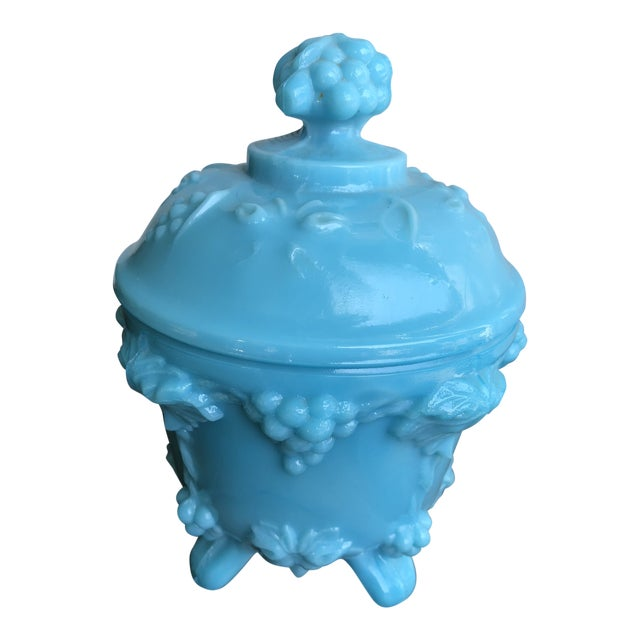 Vintage Portieux Vallerysthal Blue Milk Glass Grape Footed Candy