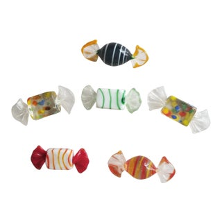 Murano Hand Blown Rare Confetti Candies - Set of 6