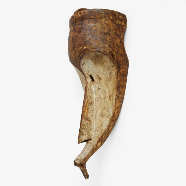 Fang mask of secret society Ngil with white elongated features. Used during initiations of persecution of wrong doers....