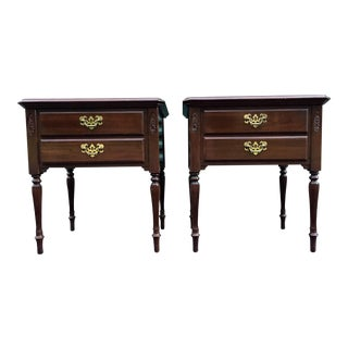 Ethan Allen Georgian Court Solid Cherry Nightstands- a Pair