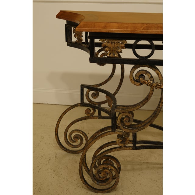 Wrought Iron Base Console Table w. Maple Top Age: Approx: 20 Years Old Details: High Quality Construction Large Impressive...