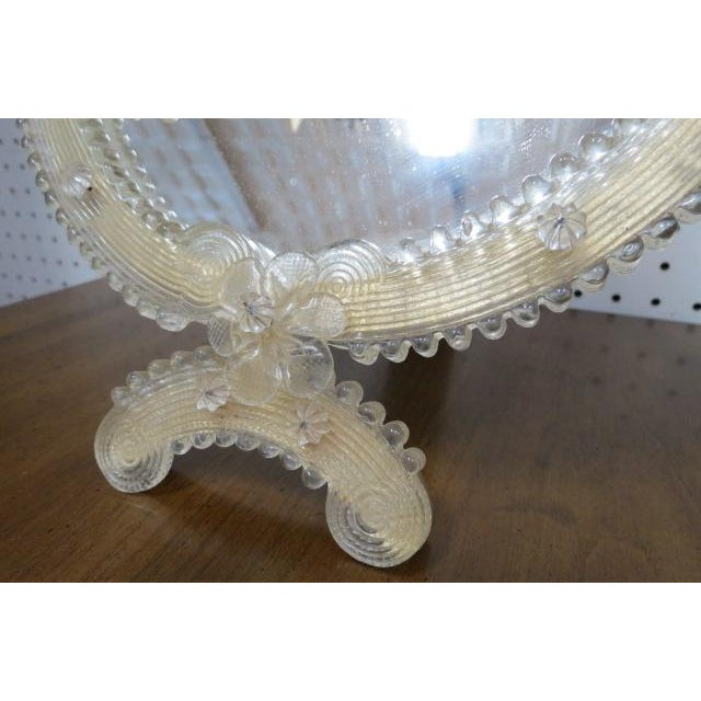 Hollywood Regency 1900 Vintage Antique Venetian Glass Table/Wall Mirror For Sale - Image 3 of 8
