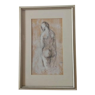 1960s Vintage Original Figurative Female Nude Framed Painting For Sale