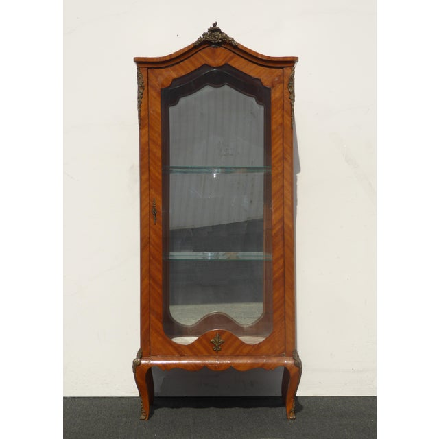 French Provincial Vintage French Provincial Curio Cabinet Display Case Vitrine W Burlwood and Ormalu For Sale - Image 3 of 13