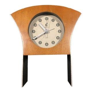 Mid-Century Inspired Quartz Clock in Cherry Wood For Sale