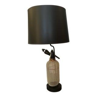 Original Seltzer Bottle Repurposed Into a Tabletop/ Desktop Lamp For Sale