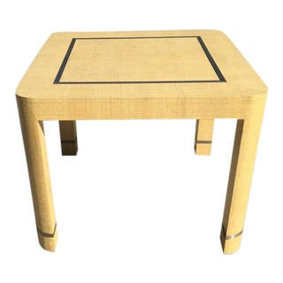 Grasscloth and Brushed Stainless Steel Game Table by The Rudolph Collection For Sale