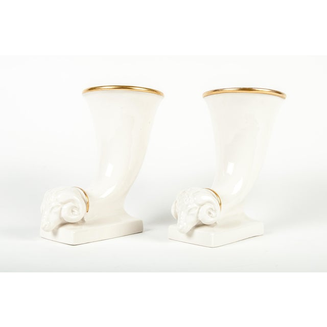 1910s Vintage French Decorative Ram Horn Vases - a Pair For Sale - Image 5 of 5