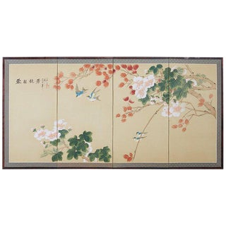 Japanese Four-Panel Spring Byobu Folding Screen For Sale