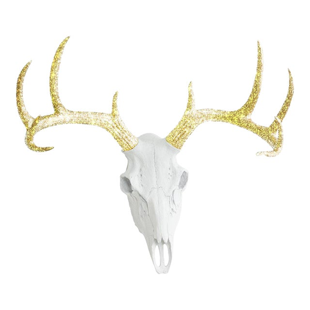 Wall Charmers White & Gold Faux Taxidermy Deer Skull Wall Mount For Sale