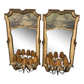 Hollywood Regency Venetian Trumeau Partial Gilt and Painted Chinoiserie Mirrors With Lights by Palladio - a Pair For Sale