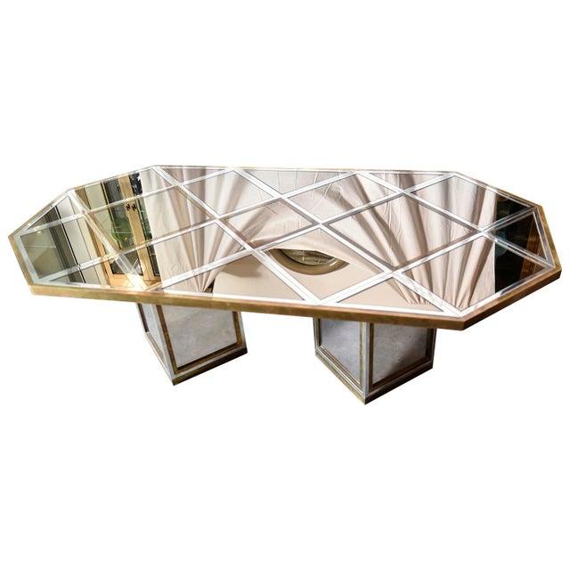 Mid Century Modern Italian Romeo Rega Brass, Chrome, Glass & Mirror Dining Table / Desk - Image 5 of 5