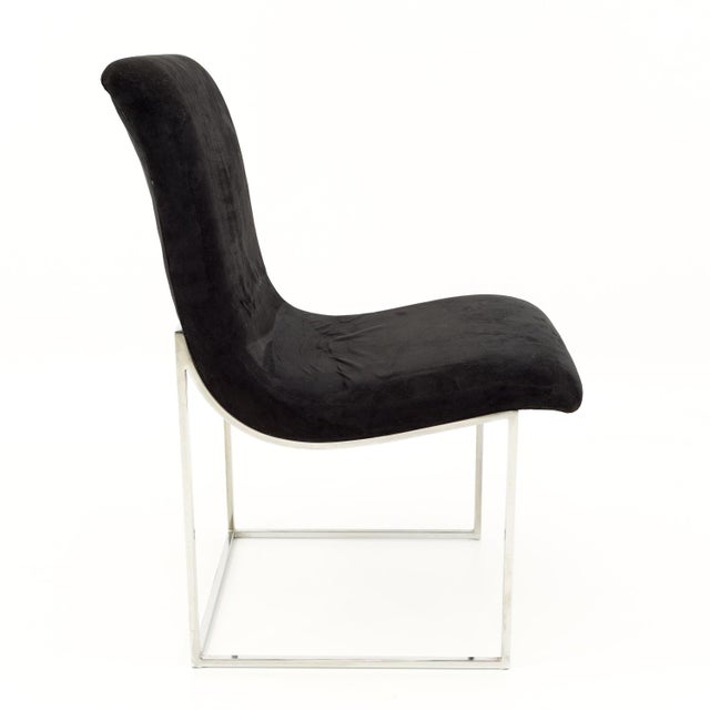 Milo Baughman for Directional Mid Century Black Velvet Chrome Base Lounge Chairs - a Pair For Sale In Chicago - Image 6 of 11