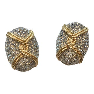 Ciner Crystallized Gold Rope Earrings For Sale