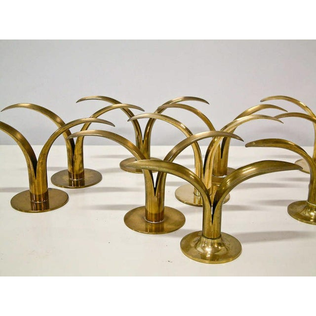 Metal Circa 1950 Grouping of 11 Swedish Ystad Metall Brass Candleholders For Sale - Image 7 of 11