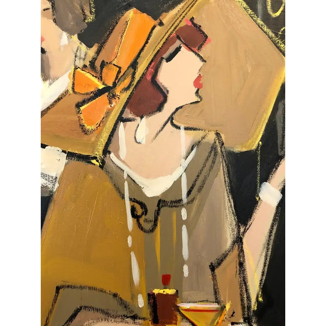 A show stopper contemporary painting by renowned French and Israeli artist Isaac Maimon having his sophisticated stylized...
