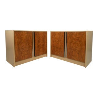 Vintage Modern Burl Front Cabinets - A Pair