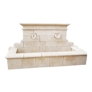 Hand Carved French Limestone Wall Fountain For Sale